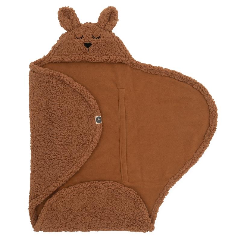 Wickeldecke mit Kapuze 'Bunny' Teddy rost