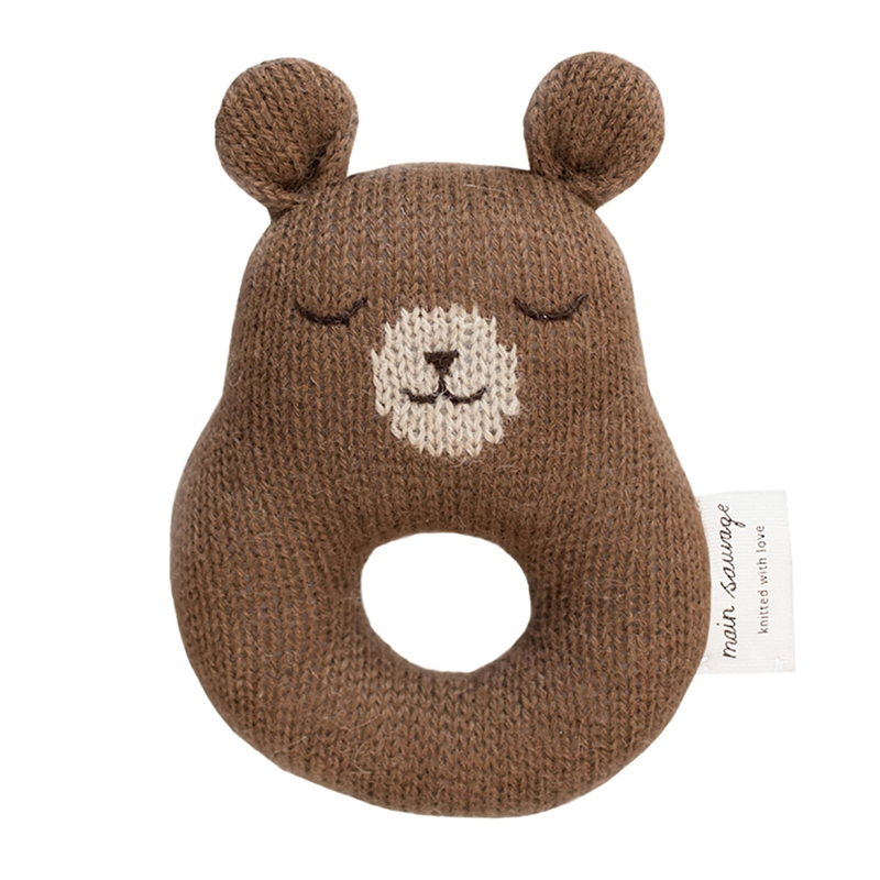 Strickrassel 'Bär' Alpakawolle braun
