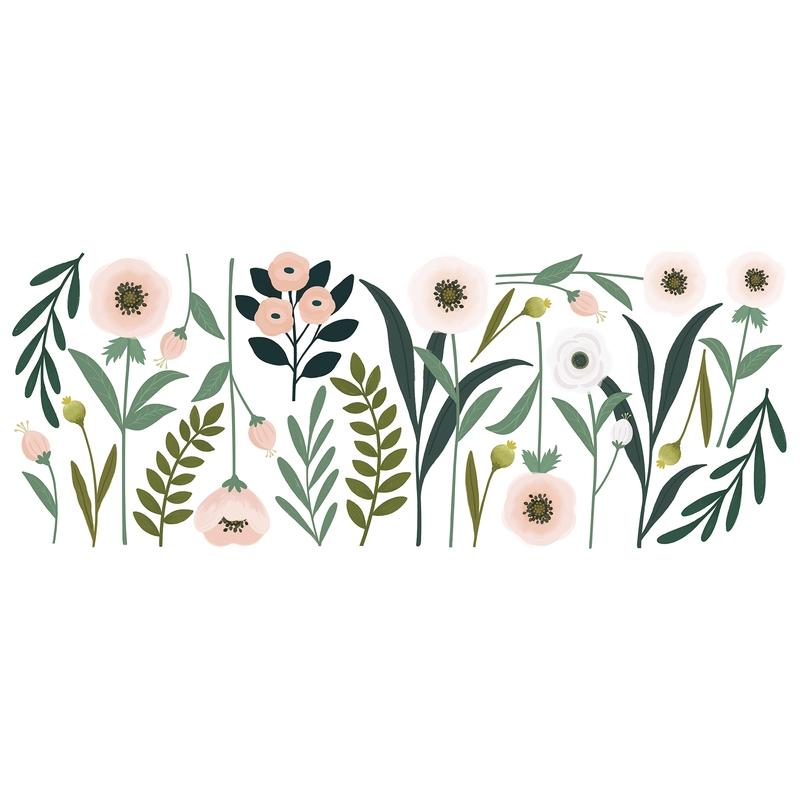 XL-Wandsticker 'Wonderland' Blumen rosa/grün