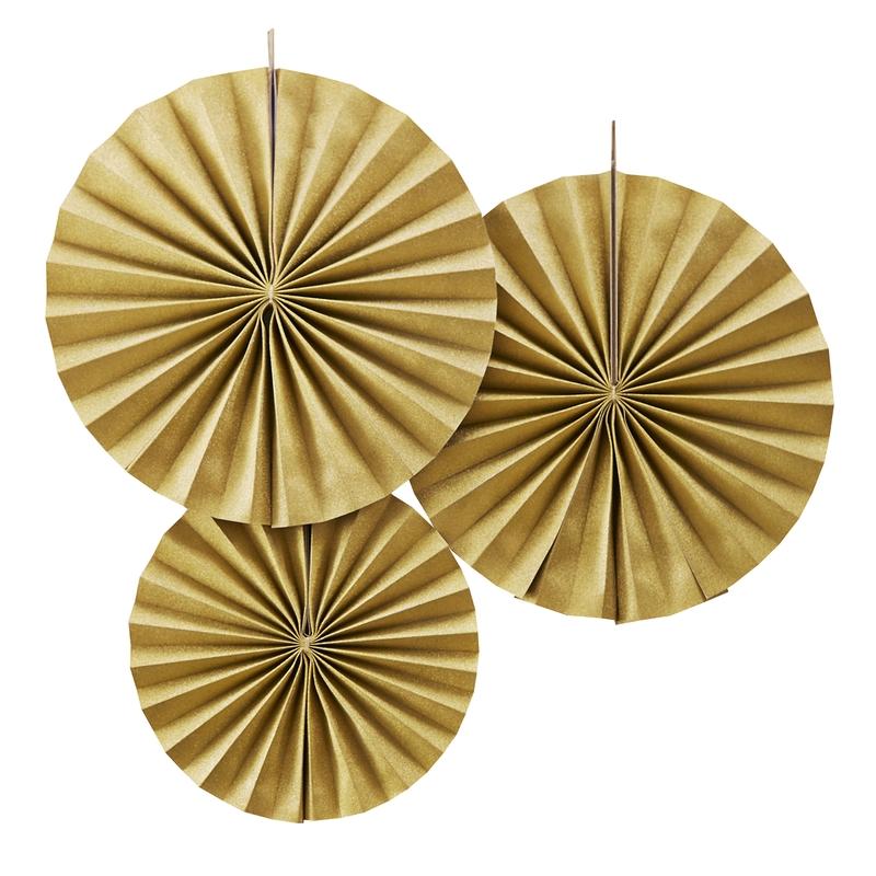 Dekofächer aus Papier Glitzer gold 3er Set