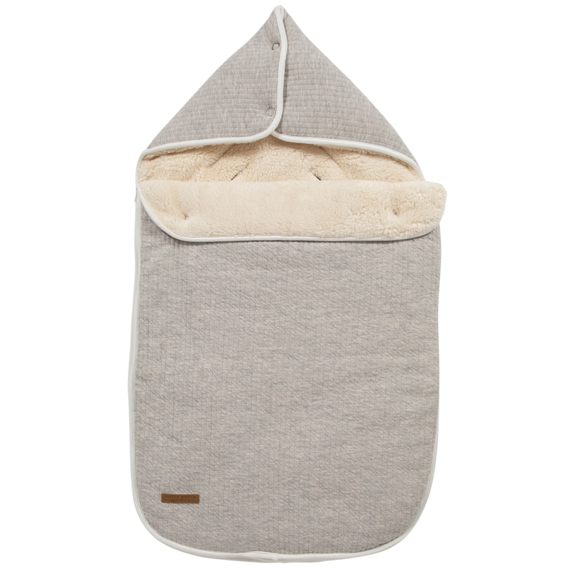 Baby-Fußsack 'Pure' hellgrau Jersey/Teddy