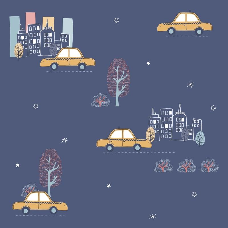 Tapete 'Taxis' dunkelblau/ocker
