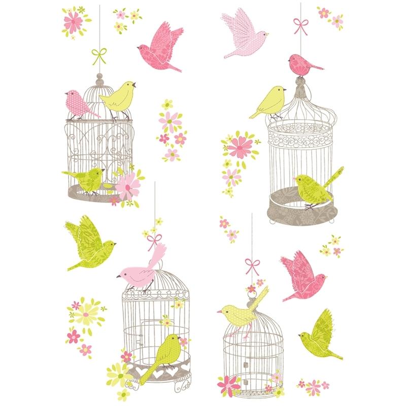 Wandsticker Vogelkäfige rosa/grün