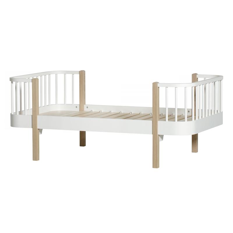 Juniorbett 'Wood' Eiche/weiß 90x160cm