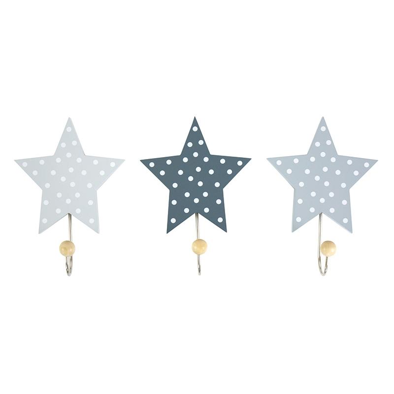 Kleiderhaken 'Sterne' Holz grau 3er Set