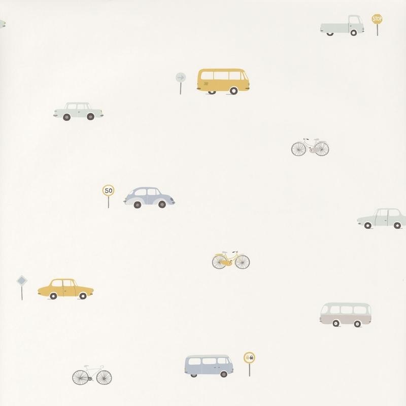 Tapete 'Happy Dreams' Fahrzeuge blau/ocker