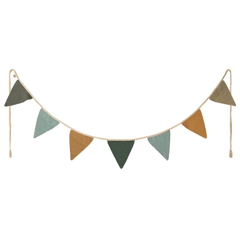 Wimpelkette aus Baumwolle grün/blau 185cm