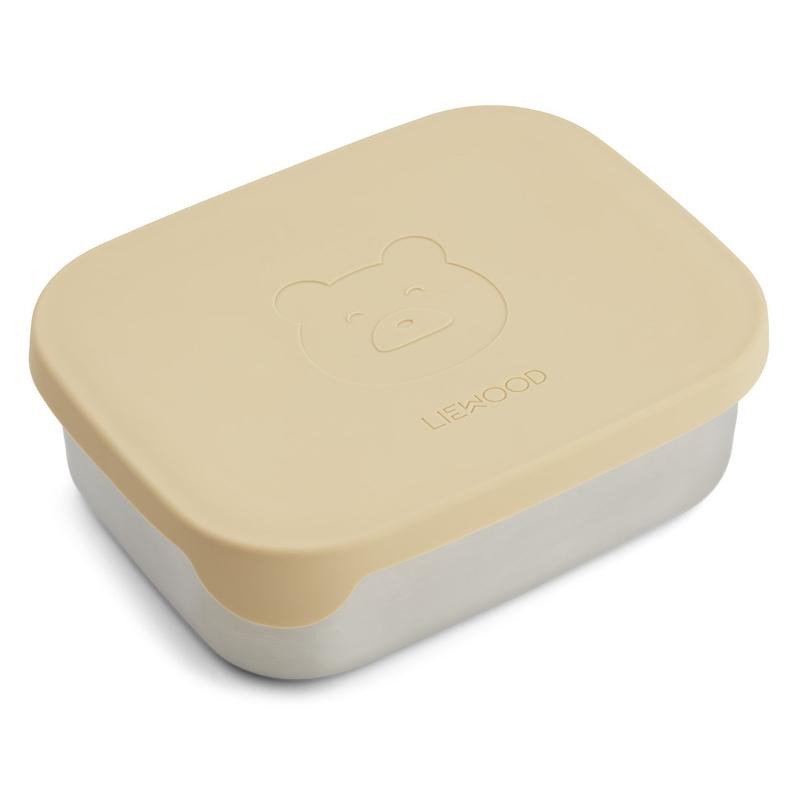 Brotdose 'Bär' Edelstahl/Silikon vanillegelb 17cm