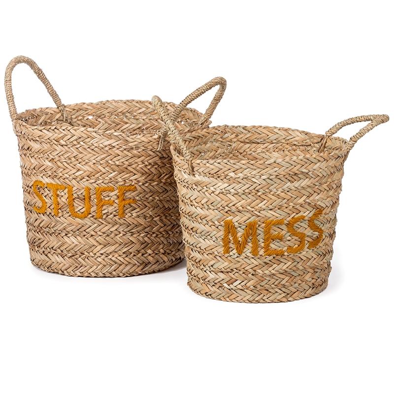 Aufbewahrungskörbe 'Mess/Stuff' natur/senf