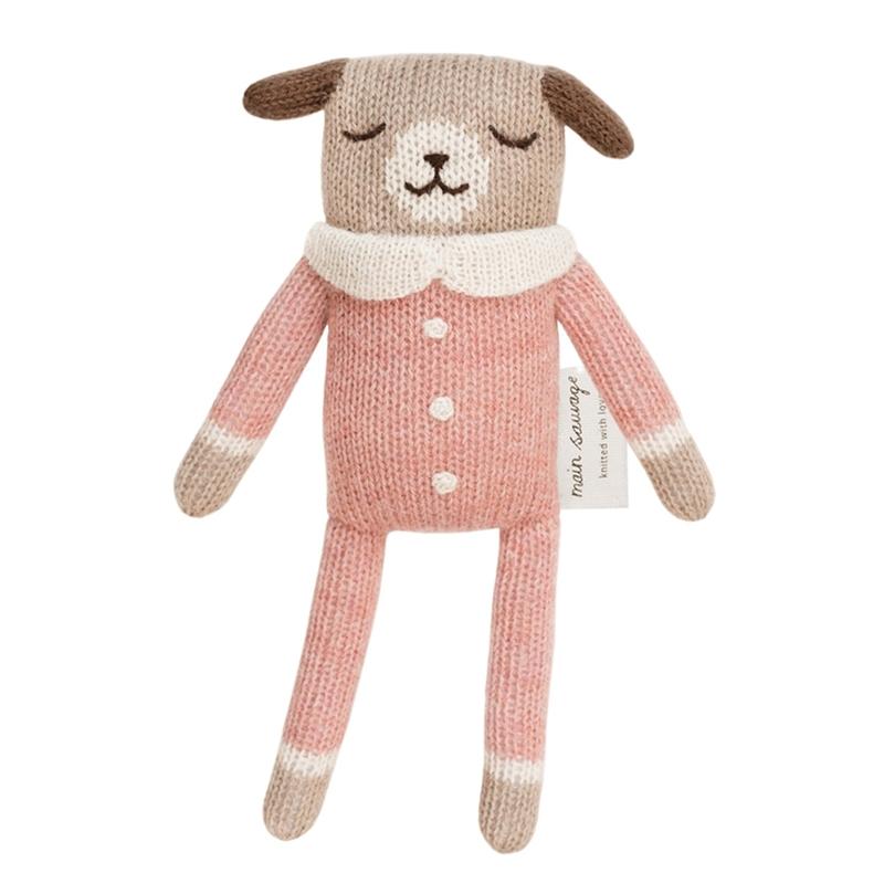 Kuscheltier 'Hund' Alpakawolle rosa