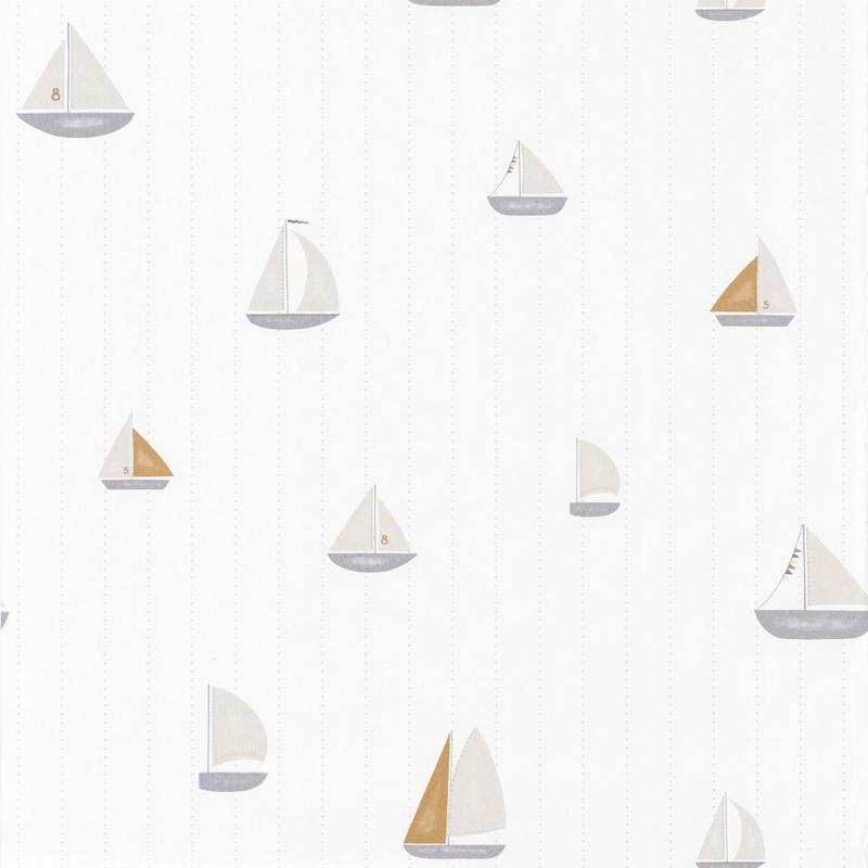 Tapete 'Rose & Nino' Schiffe beige/senf